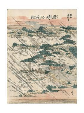 Evening Rain at Karasaki by Katsushika Hokusai