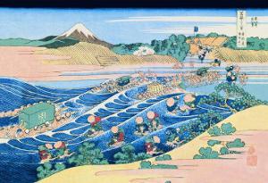 Fording the River by Katsushika Hokusai