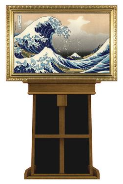 Great Wave by Hokusai on Museum Easel Fine Art Lifesize Standup by Katsushika Hokusai