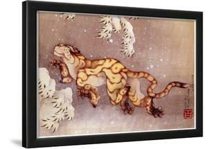 Katsushika Hokusai Happy Tiger in the Snow Art Poster Print