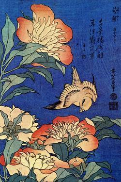 Katsushika Hokusai A Bird And Flowers Plastic Sign by Katsushika Hokusai
