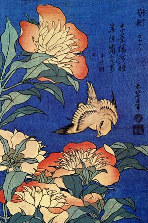 Katsushika Hokusai A Bird And Flowers by Katsushika Hokusai
