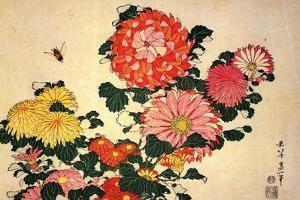 Katsushika Hokusai Chrysanthemums and a Bee Plastic Sign by Katsushika Hokusai