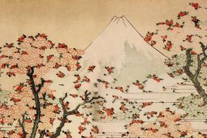 Katsushika Hokusai Mount Fuji Behind Cherry Trees and Flowers by Katsushika Hokusai