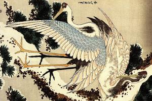 Katsushika Hokusai Two Cranes on a Pine Covered with Snow Plastic Sign by Katsushika Hokusai
