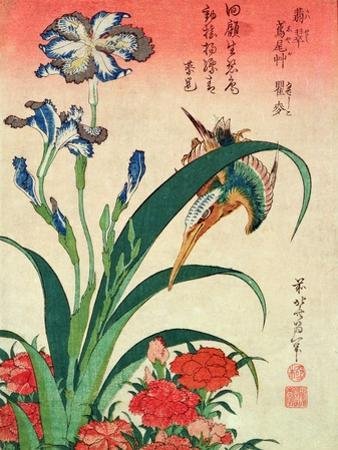 Kingfisher, Iris and Pinks, Pub. by Nishimura Eijudo, C.1832, One of a Set of Ten Prints by Katsushika Hokusai