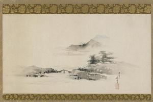 Landscape, Edo Period, C.1801-02 (Ink and Colour on Paper Mounted as Hanging Scroll) by Katsushika Hokusai