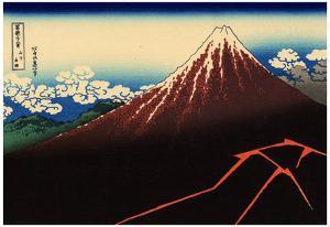 Katsushika Hokusai (Lightning on Mount Fujiyama) Art Poster Print