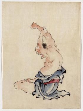 Man Stretching, Published 1830-50 by Katsushika Hokusai
