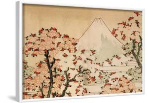 Katsushika Hokusai Mount Fuji Behind Cherry Trees and Flowers Art Poster Print