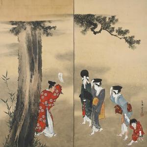 Paper Two-Fold Screen: a Shinto Priest by Katsushika Hokusai