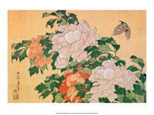 Peonies and Butterfly by Katsushika Hokusai