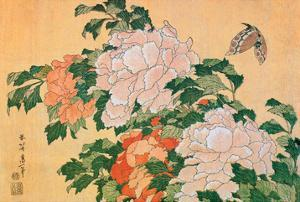 Peonies and Butterfly by Katsushika Hokusai