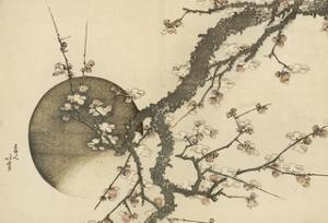 Plum Blossom and the Moon from the Book Mount Fuji in Spring (Haru No Fuji), C.1803 by Katsushika Hokusai