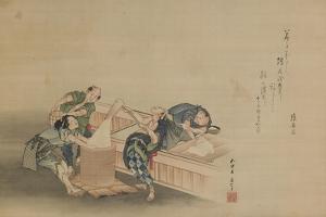Pounding Rice for Mochi by Katsushika Hokusai