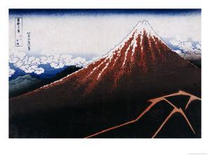 Rainstorm Beneath the Summit (The Black Fuji) by Katsushika Hokusai