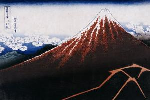 Rainstorm Beneath the Summit (The Black Fuji) by Katsushika Hokusai