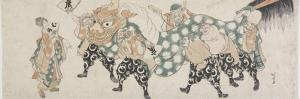 Six Male Gods Performing the Lion Dance, 1797-1819 by Katsushika Hokusai