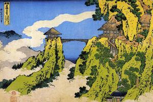 Katsushika Hokusai Temple Bridge Plastic Sign