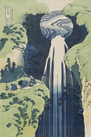 The Amida Falls in the Far Reaches of the Kisokaidô Road by Katsushika Hokusai