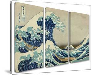 The Great Wave Off Kanagawa 3-piece set by Katsushika Hokusai