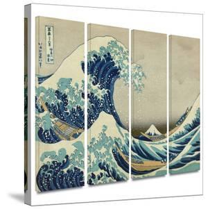The Great Wave Off Kanagawa 4 piece gallery-wrapped canvas by Katsushika Hokusai