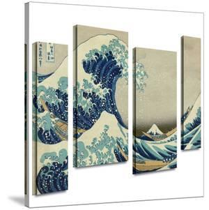 The Great Wave Off Kanagawa 4 piece gallery-wrapped canvas by Katsushika Hokusai