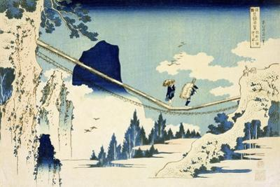 The Suspension Bridge Between Hida and Etchu by Katsushika Hokusai