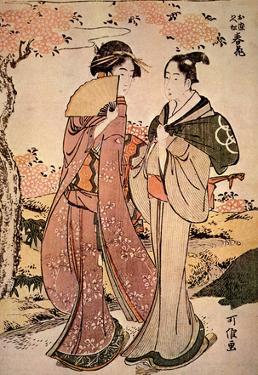 Katsushika Hokusai Two Japanese Women Art Poster Print