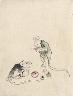 Two Mice in Council by Katsushika Hokusai