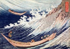 Two Small Fishing Boats on the Sea by Katsushika Hokusai