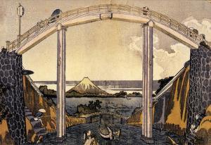 Katsushika Hokusai View of Mount Fuji Under a Bridge Art Poster Print