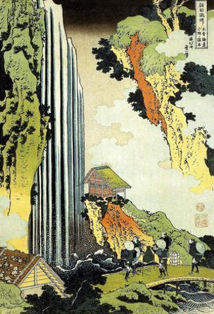 Katsushika Hokusai Waterfall in Village Art Poster Print