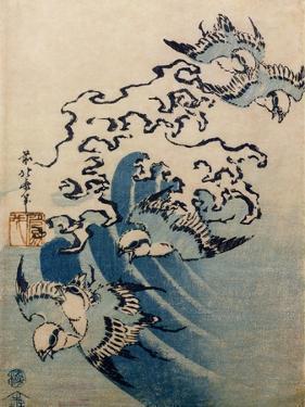 Waves and Birds, circa 1825 by Katsushika Hokusai