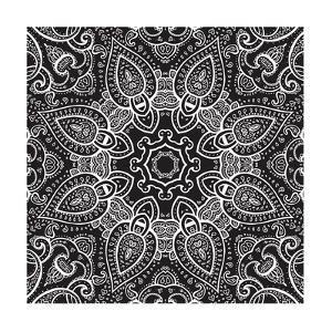 Lace Background: White on Black, Mandala by Katyau