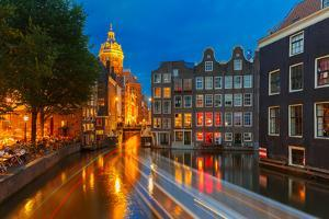 Night City View of Amsterdam Canal, Church and Bridge by kavalenkava volha