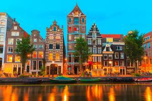 Night City View of Amsterdam Canal Herengracht by kavalenkava volha