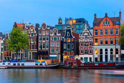 Night City View of Amsterdam Canal with Dutch Houses by kavalenkava volha