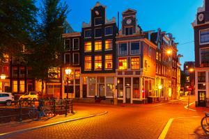 Night City View of Amsterdam Houses by kavalenkava volha