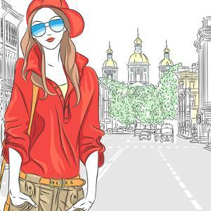 Vector Beautiful Fashion Girl Top Model on the Street in St. Petersburg by kavalenkava volha