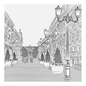 Vector Cityscape, the Wide Avenue with Vintage Buildings and Beautiful Lanterns by kavalenkava volha