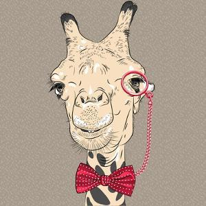 Vector Closeup Portrait of Funny Camel Hipster by kavalenkava volha