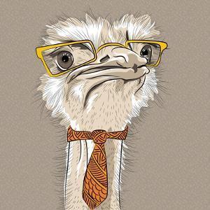 Vector Closeup Portrait of Funny Ostrich Bird Hipster by kavalenkava volha