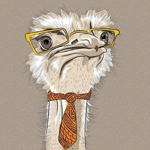 Vector Closeup Portrait of Funny Ostrich Bird Hipster by kavalenkava volha