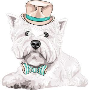 Vector Dog West Highland White Terrier Breed in Hat and Bow Tie by kavalenkava volha
