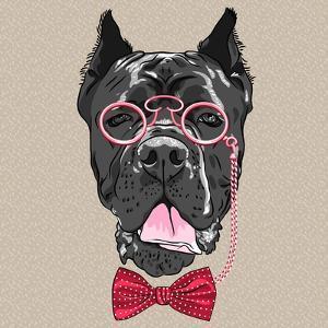 Vector Funny Cartoon Hipster Dog Cane Corso by kavalenkava volha