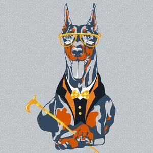 Vector Funny Cartoon Hipster Dog Doberman Pinscher Breed by kavalenkava volha