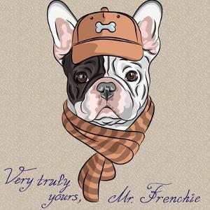 Vector Funny Cartoon Hipster Dog  French Bulldog Breed by kavalenkava volha