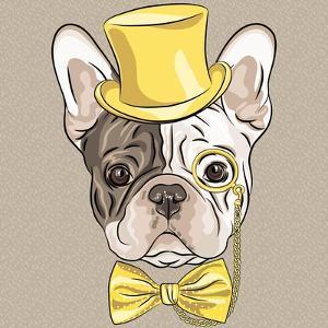 Vector Funny Cartoon Hipster French Bulldog Dog by kavalenkava volha