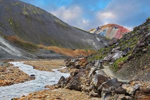 National Park Landmannalaugar in Iceland. the Green Stone Rock and Stream in the Gorge by kavram